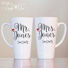 Id so much rather have mugs than champagne glasses  LATTE MUG ~ Pair of Mr. and Mrs. Mug ~ Bridal Shower Gift ~ Wedding Mug ~ Wedding Anniversary ~ His and Hers Mug ~ Bride and Groom Gift ~