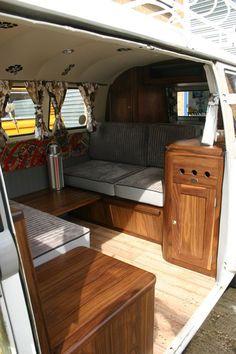 VW Camper van interior All Things Timber, sliding table between couches? Interior Kombi, Interior Trailer, Volkswagen Bus Interior, Van Interior, Interior Design, Interior Ideas, Bus Camper, Bus Vw, Vw Caravan