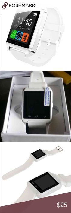 New White Smart Watch 100% Brand new and in the box Smart Watch. Never been used. Works perfect. Connects to any phone through Bluetooth, plays music, answers calls/texts from the watch,  takes photos/videos. It also has many other functions such as Wifi, Internet Browser, Calendar, Alarm, Calculator, Sleep Monitor, Pedometer,  Timer. Works with all devices including Apple and Android devices. Accessories Watches