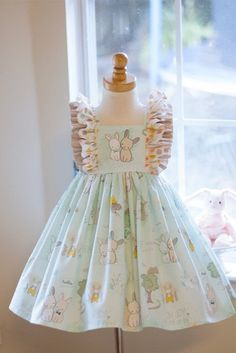 Best 12 Precious Bunnies Dress by RubysClothing on Etsy Dress For Girl Child, Toddler Dress, Dress Girl, Toddler Girls, Baby Girls, Baby Girl Party Dresses, Little Girl Dresses, Kids Frocks Design, Baby Sewing