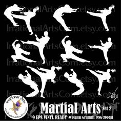 Martial Arts silhouettes 9 EPS VINYL Ready and 9 by IrrationalArts, $25.00