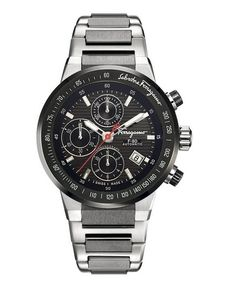 Salvatore Ferragamo Mens Titanium Black Chronograph Dial Watch ** For more information, visit image link. Cool Watches, Watches For Men, Men's Watches, Gifts For Dad, Guy Gifts, Mens Gear, Sharp Dressed Man, Automatic Watch, Casio Watch