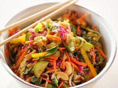Get Lighter Asian Noodle Salad Recipe from Food Network