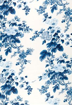 174452 Pyne Hollyhock Print Indigo by F Schumacher Fabric Trendy Wallpaper, Fabric Wallpaper, Of Wallpaper, Cute Wallpapers, Blue Flower Wallpaper, Blue And White Fabric, Blue Fabric, Fabric Flowers, Blue Flowers