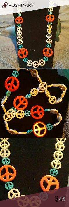 "🎉Handmade🎉 Wendy Wrocks Art&Wear Peace necklace 28"" handmade  Howlite Peace Sign necklace strung on extra strong jeweler's elastic. Wendy Wrocks  Art   Jewelry Necklaces"