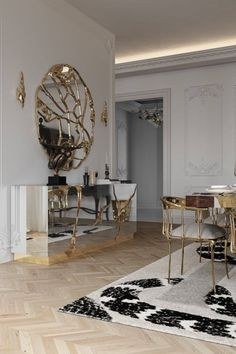 Dining rooms are a crucial element in any household, and thus needs to have the perfect design. Achieve that ideal ethereal look in a white and gold ambience, with the uniquely majestic IMPERIAL SNAKE Rug, paired with Boca do Lobo's sublime LAPIAZ Sideboard, Nº11 Chair and the exquisite GLANCE Mirror.
