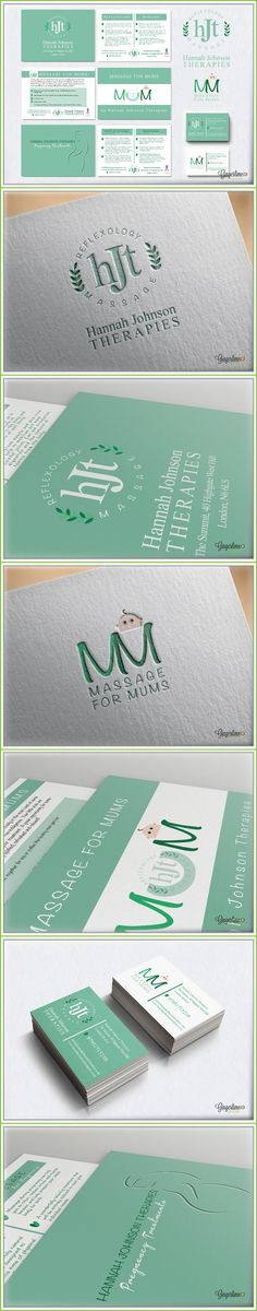 Branding Design by Gingerlime Design. Hannah Johnson Therapies is a North London based company that specialises in massage and reflexology. HJT was looking for a branding package to include a logo, business cards, and several advertising leaflets. HJT was looking for a simple, mint green design that emphasized the tenets of the company: Natural, healing treatments that promote balance and well-being.