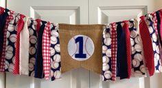Baseball High Chair Birthday Banner Rag Tie by backyardprims