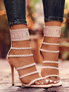 Round Toe Stiletto Cut Out Rhinestone Fashion High-Heeled Sandals - Hig Heels Studded Heels, Strappy Heels, Stiletto Heels, Heeled Sandals, Shoes Sandals, Cute Shoes Heels, Sandals Outfit, High Heels Stilettos, High Sandals