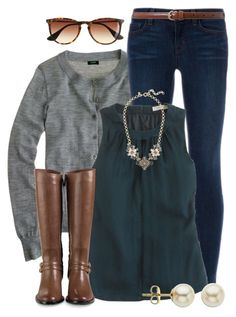 """""""Grey & Green"""" by qtpiekelso ❤ liked on Polyvore featuring moda, J.Crew, J Brand, Cole Haan, Lauren Ralph Lauren y Lord & Taylor"""
