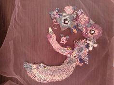 Embroidery, Paradise bird and flowers