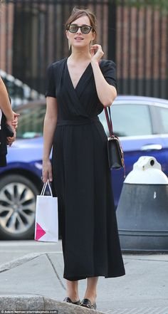 Fifty Shades of Demure: Dakota Johnson, 26, showed off her more demure side as…