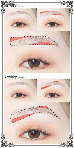 full natural brows | Korean style straight brows | very popular in Asia || vs || arched brows | tutorial
