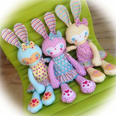 """""""My Pet Bunny Buttercup"""" fabric panels - part of my new fabric collection """"Sweet Home"""" for Riley Blake Designs due April! Doll Crafts, Sewing Crafts, Sewing Projects, Fabric Toys, Fabric Crafts, Sewing Dolls, Quilt Kits, Stuffed Animal Patterns, Diy Toys"""