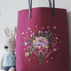 미니 자수가방~^^ #프랑스자수 #embroidery #프랑스자수가방 #꽃다발자수
