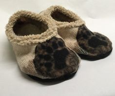 Upcycled Sweater Slippers with Suede Non-Skid by TheBackyardBear Upcycled Sweater, Bear Paws, Baby Shoes, Slippers, Trending Outfits, Unique Jewelry, Handmade Gifts, Sweaters, Kids