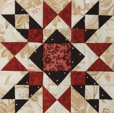 2012 Mystery Quilt from American Patchwork Quilting: Block 4 This is part of an eight block mystery quilt. There is directions for finishing the quilt, too, and the quilt is beautiful when it's put together! Star Quilt Blocks, Star Quilts, Mini Quilts, 24 Blocks, Barn Quilt Patterns, Pattern Blocks, Quilting Projects, Quilting Designs, Quilting Ideas