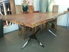 Great Solid Suar Wood Live Edge Slab Top with Branches Stainless Steel Base