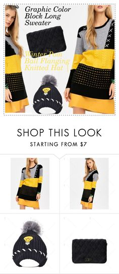 """color block sweater"" by duma-duma ❤ liked on Polyvore"