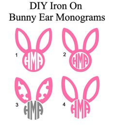 DIY Iron On Easter Bunny Ears Monogram. Monogram Transfers to Personalize your favorite shirts. You can iron them on to just about any fabric! Great