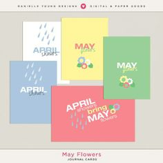 Free May Flowers Title/Filler Cards from Danielle Young Designs {newsletter subscription required}