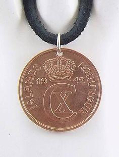 1942 Iceland Coin Necklace, 5 Aurar, Coin Pendant, Leather Cord, Mens Necklace, Womens Necklace, Vintage Coin Jewelry, Coin Necklace, Beaded Jewelry, Coin Pendant, Ball Chain, Leather Cord, Necklace Lengths, Coins, My Etsy Shop
