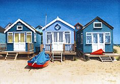 A painting of blue beach huts at Mudeford sandspit, Dorset by Margaret Heath.