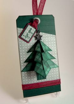 """How to Make a """"Tea Bag Fold"""" Christmas Tree – I Played With Paper Today! Origami Christmas Tree Card, Unique Christmas Trees, Christmas Cards To Make, Christmas Gift Tags, Diy Christmas, Xmas Tree, Vintage Christmas, Christmas Sewing, Christmas Projects"""