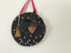 Excited to share the witch key hanger addition to my shop: Kitchen Witch key hanger Leather Hats, Kitchen Witch, Lace Detail, Hanger, My Etsy Shop, Felt, Clay, Christmas Ornaments, Holiday Decor