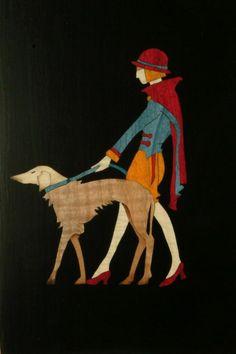 art deco image of girl and dog
