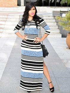 Diário da Moda: Look do dia: Vestido longo com fenda