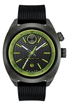 Movado 'Bold' Textured Dial Silicone Strap Watch, 44mm (Regular Retail Price: $695.00) available at #Nordstrom