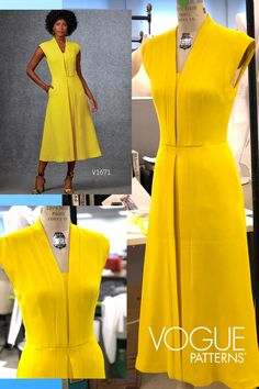 Super-flattering dress to sew : This Vogue Patterns dress is amazingly flattering with its vertical bands, defined waist and flared skirt. We made it in bright yellow from a wool/silk blend crepe. Vogue Dress Patterns, Dress Sewing Patterns, Pattern Dress, Jacket Pattern, Simple Dresses, Nice Dresses, Summer Dresses, Dresses Dresses, Casual Dresses
