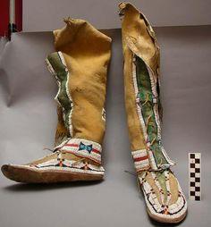 Woman's knee-length moccasin, caribou. Cheyenne?