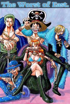 Monkey D. Luffy, Roronoa Zoro, Nami, Usopp and Vinsmoke Sanji