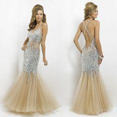 Luxury Champagne Long Rhinestones Beaded Mermaid Prom Dresses Evening Gown