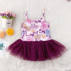 Purple Floral With Burgundy Tulle Princess Dress from kidspetite.com! Adorable & affordable baby, toddler & kids clothing. Shop from one of the best providers of children apparel at Kids Petite. FREE Worldwide Shipping to over 230+ countries ✈️ www.kidspetite.com #toddler #clothing #dresses #girl