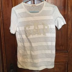 Gap shirt Front is white stripes and back is all white. Never worn. Size XS but could also fit as a Small GAP Tops Tees - Short Sleeve