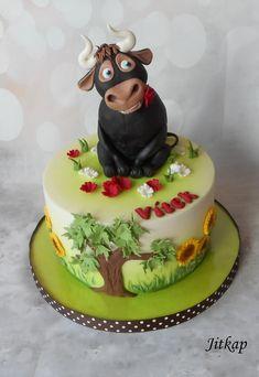 Ferdinand cake by Jitkap Cow Birthday Cake, Birthday Cake With Flowers, Adult Birthday Cakes, Cupcakes, Cupcake Cakes, Torta Minnie Mouse, Ferdinand The Bulls, Movie Cakes, Horse Cake