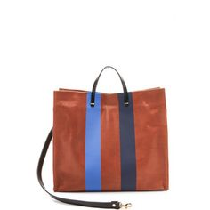 Clare V. Supreme Simple Tote - British Tan With Blue Stripes