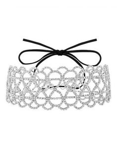 Hollowed Infinite Bowknot Rhinestoned Necklace 1cab8602566
