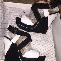 ALDO wedge heel Black & white wedge, worn once. ALDO Shoes Wedges