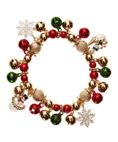 Another great find on #zulily! Carole Red & Gold Christmas Bells Stretch Bracelet by Carole #zulilyfinds