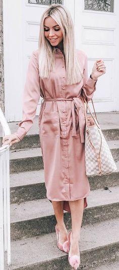 #winter #outfits pink button dress, heels