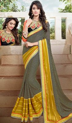 Pamper the women in you with this desirable black and yellow color georgette printed sari. The charming block print and lace work a significant characteristic of this attire. Upon request we can make round front/back neck and short 6 inches sleeves regular saree blouse also. #GorgeousLookPrintedSari