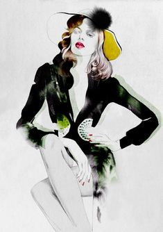 Fashion Illustrations - Collection of fashion illustrations from around the web from rough croquis to designer skecthes. Be inspired, study techniques or submit your own fashion art. Gravure Illustration, Illustration Mode, Fashion Illustration Sketches, Fashion Sketches, Fashion Drawings, Drawing Sketches, Fashion Art, Love Fashion, Fashion Models
