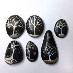 Tree painted rocks, cool trees painting.