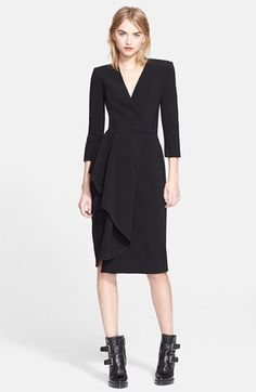 Alexander McQueen Side Ruffle V-Neck Dress available at #Nordstrom
