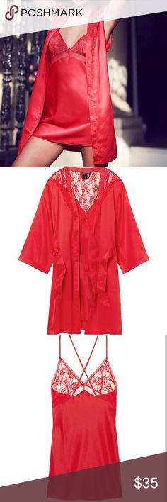 NIP VS Medium 2PC Slip & Robe Set NIP Victoria's Secret Medium 2PC Satin Slip & Robe Set  -Can be used as both lingerie or pajamas. Cute lace detail! -Same day/next day shipping! :) Victoria's Secret Intimates & Sleepwear