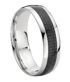 This carbon fiber and stainless steel ring for men is equally appropriate as a fashion ring or a wedding band. $24.95